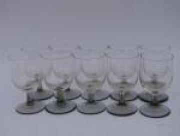 10 tiny liqueur or cordial glasses, smoke & crystal glass stemware goblets