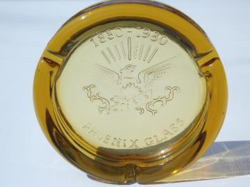 100 years Phoenix Glass 1880-1980 amber ashtray, vintage Anchor Hocking