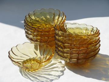 12 amber glass fruit or salad bowls, Colony swirl, 60's-70's vintage