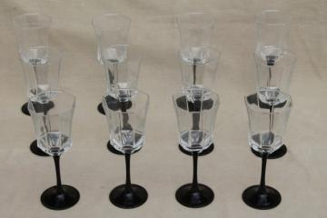 12 Octime Arcoroc wine glasses or water goblets, black glass stems w/ crystal clear bowls