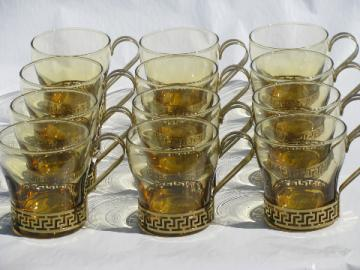 12 vintage punch cups, 70s mod amber bar glasses w/ greek key bands