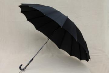 1920s 30s vintage black silk lady's umbrella, Mary Poppins style!