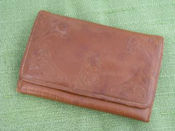 1920s - 30s vintage ladies clutch purse, art deco tooled leather envelope