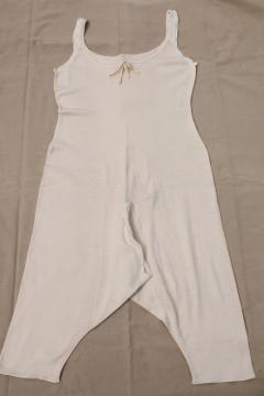 1920s vintage flapper girl union suit, Carter's label cotton long underwear one piece
