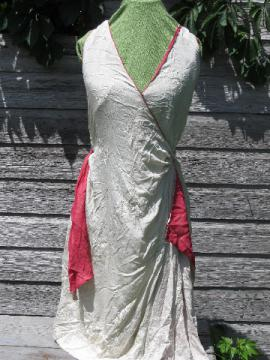 1920s-30s flapper evening gown, embroidered ivory rayon w/ rose drapes