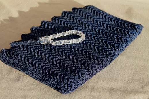 1930s 40s Vintage Navy Blue Clutch Purse Large Flat Envelope Bag