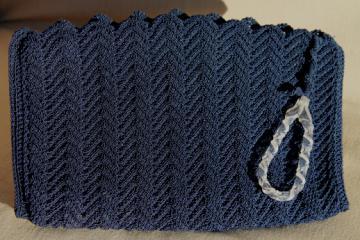 1930s 40s vintage navy blue clutch purse, large flat envelope bag rayon gimp crochet