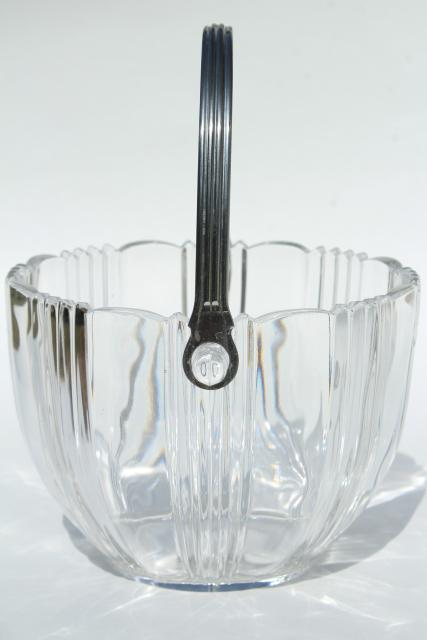 1930s vintage glass ice bucket for art deco or 50s mod style modern bar