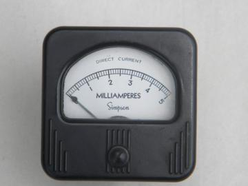 1930s vintage Simpson DC milliamps panel meter w/art deco bakelite case