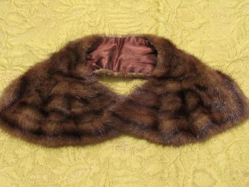1930s-40s vintage jabot pleated mink collar, fur sweater collar
