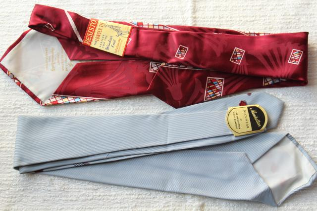 1940s 1950s vintage neckties lot, men's silk ties, clip on tie, wide & skinny ties