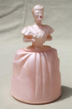 1940s 50s vintage vanity jar powder box, pink plastic lady doll dressing table bottle