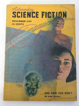 1940s sci-fi magazine pulp cover, Astounding Science Fiction, Isaac Asimov