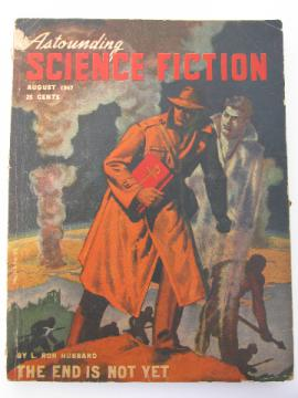 1940s sci-fi magazine pulp cover, Astounding Science Fiction, L. Ron Hubbard