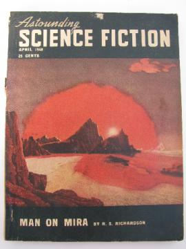 1940s vintage Astounding Science Fiction magazine, pulp sci-fi cover art
