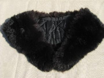 1940s-50s vintage black bunny fur collar for cardigan sweater / jacket