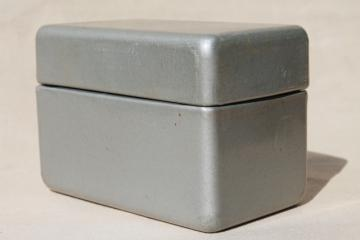 1950 vintage industrial metal card file box w/ mod streamlined shape for mid-century desk