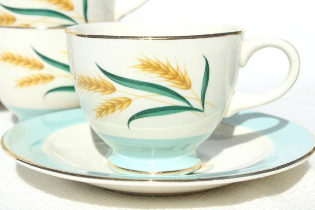 1950s 60s Vintage Golden Wheat Pattern Dishes Viking Dinnerware Set For 8