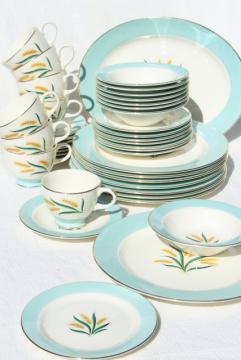 1950s 60s vintage golden wheat pattern dishes, Viking dinnerware set for 8