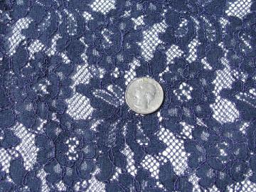 1950s - 60s vintage heavy lace fabric, navy blue