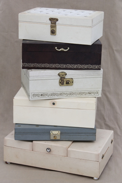 1950s 60s vintage jewelry box lot, jewelry boxes & jewelry storage chests