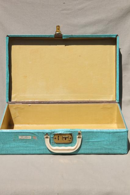 1950s 60s vintage little suitcase w/ retro turquoise color contact paper