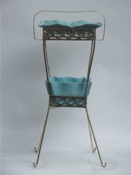 1950s 60s vintage wire smoking stand w/ huge ceramic ashtray, turquoise & gold!