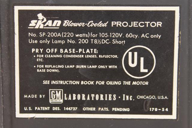 1950s Skan slide projector, mid century  portable 35mm projector w/ case & instructions