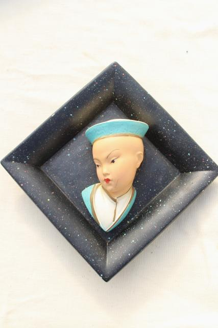 1950s vintage Chinese boy & girl chalkware wall plaques, Miller Studios?