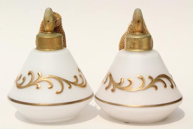 1950s vintage DeVilbiss perfume atomizer bottles, frosted glass w/ gold