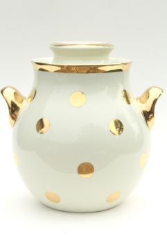 1950s vintage Hall china cookie jar, mod gold dots polka dot dotted spotted!