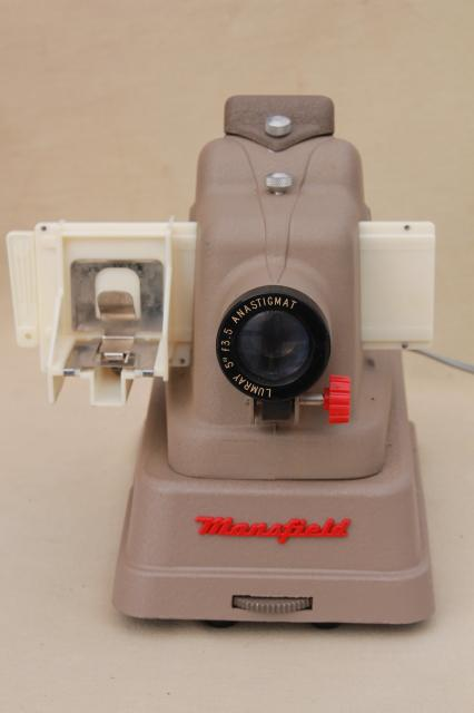 1950s vintage Mansfield Midway 35mm slide projector w/ 60s 70s vintage photo slides