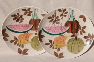 1950s vintage Red Wing pottery Futura Tampico mod fruit pattern dinner plates