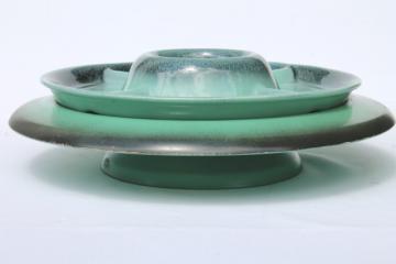 1950s vintage Rio Grande lazy susan w/ relish tray, mint green w/ black airbrush border