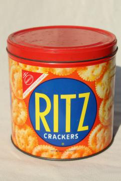 1950s vintage Ritz crackers advertising tin, cracker jar canister