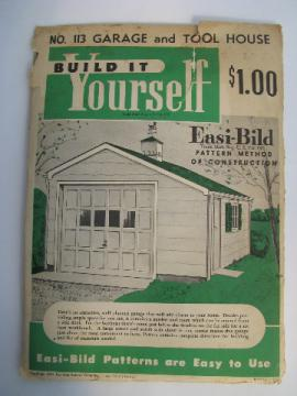 1950s vintage architectural drawings & plans for a garage or garden tool shed