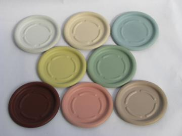 1950s vintage colored aluminum coasters, mod matte finish, retro colors