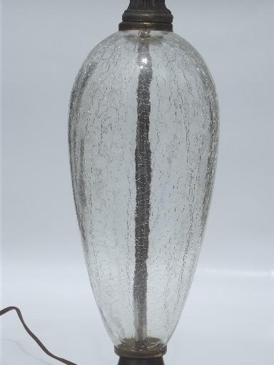 1950s Vintage Crackle Glass Lamp Crystal Amp Spelter Hollywood Regency Lamp