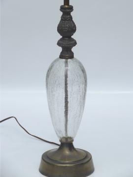1950s vintage crackle glass lamp, crystal & spelter Hollywood regency lamp