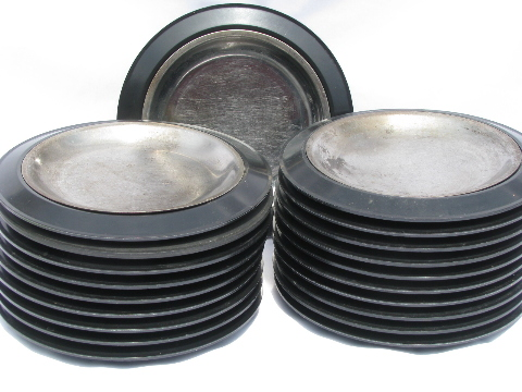 1950s vintage diner steak servers, black melmac / metal Thermo-plates