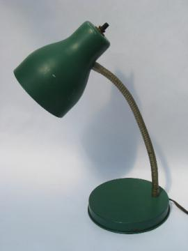 1950s vintage green metal shade desk or work light for wall or table