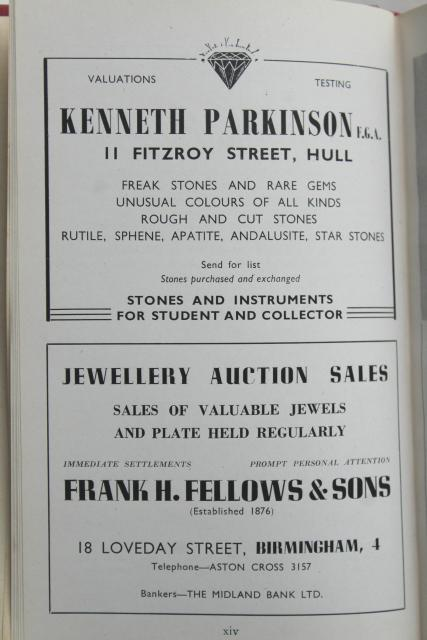 1950s vintage guide to Practical Gemology precious gems handbook, old British jeweler ads