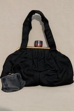 1950s vintage Lewis purse, black wool handbag w/ tortoise plastic clasp