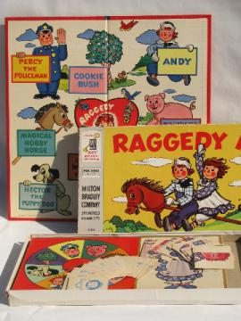 1950s vintage Raggedy Ann game, bright colored illustrated game board