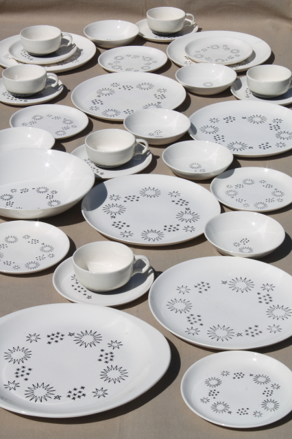 1950s vintage Stetson china dinnerware set for 6 mod atomic stars black \u0026 white & vintage Stetson china dinnerware set for 6 mod atomic stars black ...