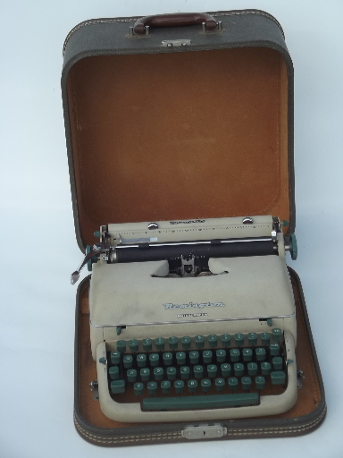 1950s vintage typewriter, Remington quiet-riter in tweed case suitcase