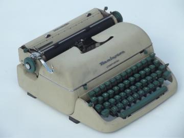 1950s vintage typewriter, Remington quiet-riter in tweed case suitcase