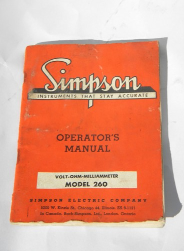 1955 Simpson VOM volt-ohm meter model 260 manual