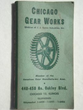 1959 Chicago Gear Works catalog, mid century industrial advertising catalog