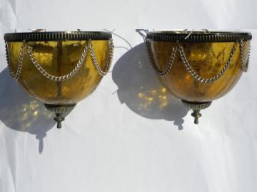 1960s ceiling light fixtures with amber glass globes vintage lighting